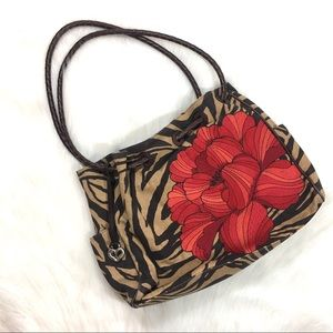 Brighton Bucket Bag Purse, brown zebra print